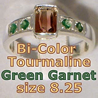 Bi-color Tourmaline and Tsavorite Garnet Handmade Sterling Ladies Ring size8.25