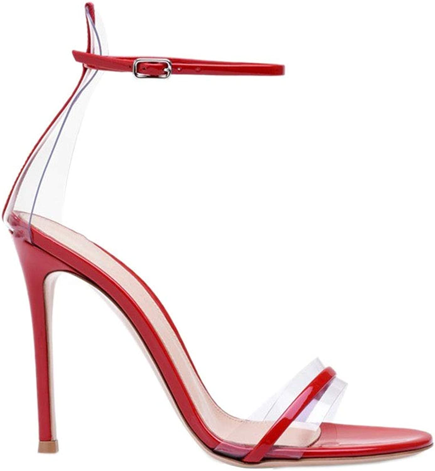 Sandals Sandals Summer Open Toe Transparent High Heel Sandals High Heel Sexy Nightclub Word Buckle with Sandals Dating shoes, High Heels 8cm (color   Red, Size   34)