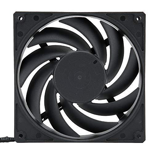 Ventilador de enfriamiento de CPU, 12V 4pin PWM Ventilador de enfriamiento de computadora ultra silencioso Radiador de chasis de enfriador de CPU para computadora de escritorio, 140 x 140 mm(negro)