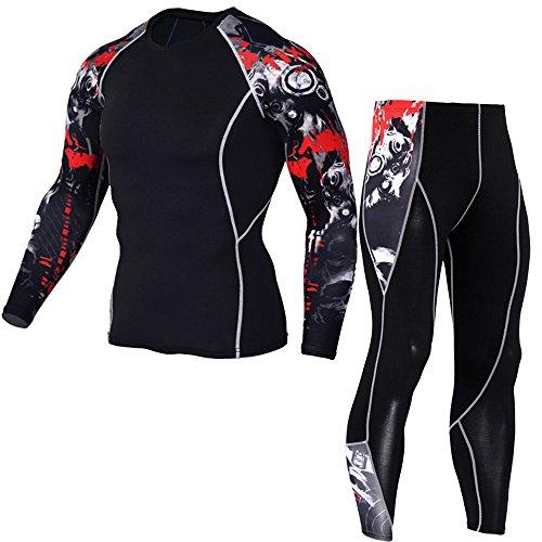 1Bests Mens Athletics Sports Compression Vêtements Serrés À Manches Longues 3D Imprime Courir Séchage Rapide Sportswear Ensembles (XL, Grey Red)