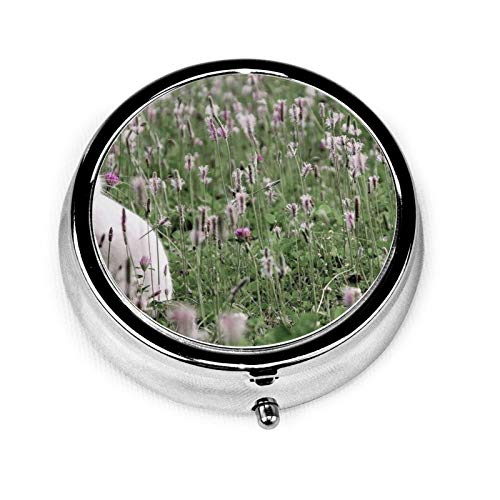 3 Compartment Pill Box Rabbit Grass Flowers Luxury Travel Kit Storage Metal Round Silver Button Pill Dispenser Vitamins Fish Oil Supplements