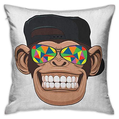 Funda de almohada estándar cuadrada de dibujos animados Fun Hipster Monkey con gafas de sol de colores y sombrero Rapero Hippie Ape Art Marrón Negro Blanco Fundas de cojín Fundas de almohada para sofá