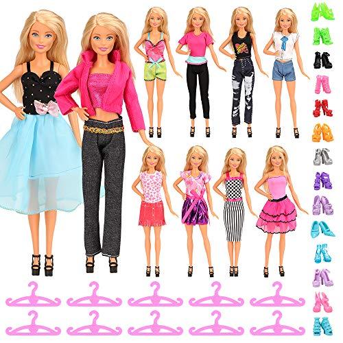 Miunana 35 Kleidung Zubehör für Puppen = 5 Kleider + 5 Tops + 5 Hosen + 10 Schuhen + 10 Kleiderbügel Kleidung für 11,5 Zoll Mädchen Puppen (Stil C)