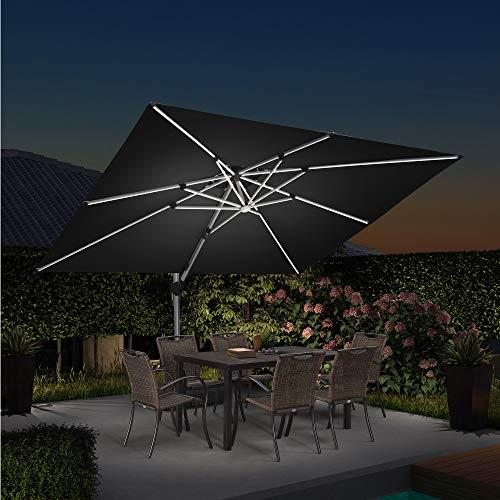 PURPLE LEAF 270 X 365 cm Sonnenschirm mit Solar LED Beleuchtung Gartenschirm Kurbelschirm Ampelschirm Terrassenschirm, Schwarz