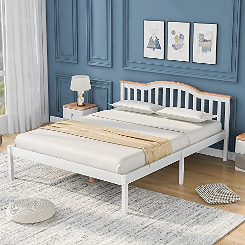 Elegante cama de matrimonio de madera con cabecero y somier de madera de pino, cama infantil, cama juvenil, cama de invitados en color blanco (140 x 200 cm)