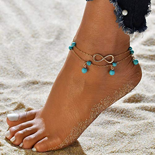 Sethexy Boho Anklet Bracelets Layered Forever Pendant Multilayer Anklets Turquoise Beach Foot Chain Jewelry for Women and Girls(Gold)
