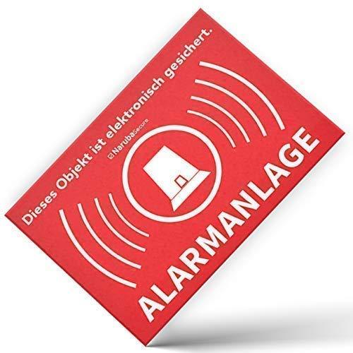10 Stück - Alarm Aufkleber Alarmanlage - Achtung Alarmgesichert – Schild – Sticker (Hinweisschild – Warnschild – Warnhinweis) für Türen, Fenster, Tore – (5 cm x 3,5 cm)