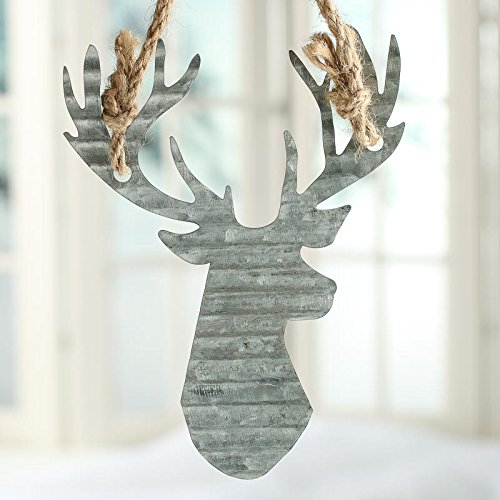 Factory Direct Craft Group of 6 Galvanized Corrugated Metal Reindeer Ornaments for Holiday Crafting and Embellishing