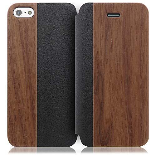 【LooCo】木製 ウッド 手帳型 本革 レザー カード収納 ケース カバー (iPhone5/5S, 胡桃)