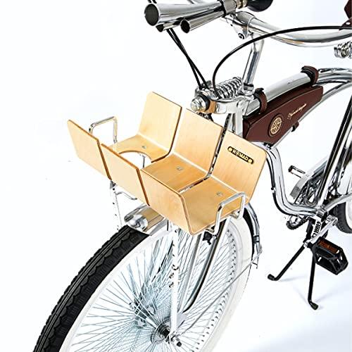 TentHome Gepäckträger Vorne Korb Fahrrad Front-Gepäckträger Verstellbar Fahrradkorb Gepäckträgerkorb Vorderrad Hollandrad Träger Holz (Silber, Trapez)