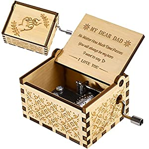 ♫【 Fathers Day Dad Gifts】This cute wood music box is the best gift for your Dad , perfect for a birthday, holiday, Christmas, Father's Day and Thanksgiving Day! ♫【No Batteries Required】The music box does not need a battery, you only need to constantl...
