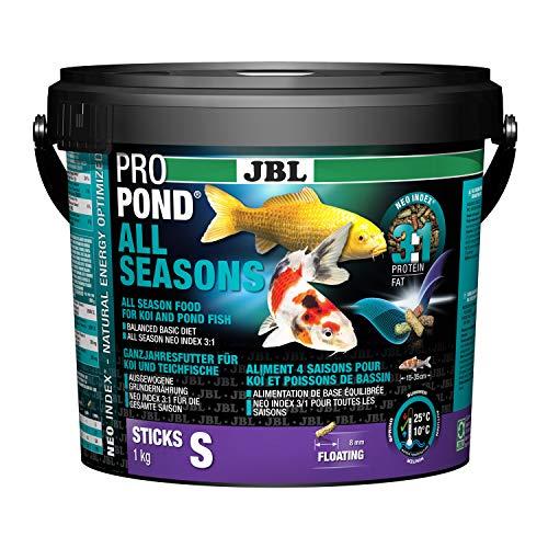 JBL Nourriture standard pour Koïs, Bâtonnets Alimentaires Flottants, Nourriture de saison, ProPond All Seasons, Taille: S, 1,0 kg