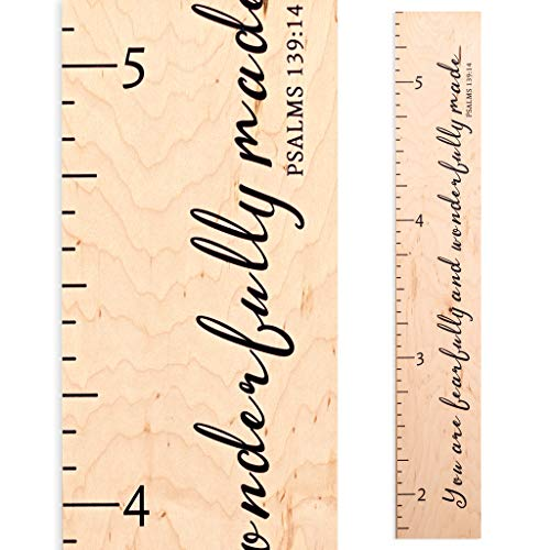 Growth Chart Art | Scripture Height Chart | Wood Growth Chart for Babies, Kids, Boys & Girls (Fearfully Wonderfully Made)