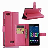 Ycloud Tasche für Wiko Fever 4G Hülle, PU Ledertasche Flip Cover Wallet Hülle Handyhülle mit Stand Function Credit Card Slots Bookstyle Purse Design Rose Red