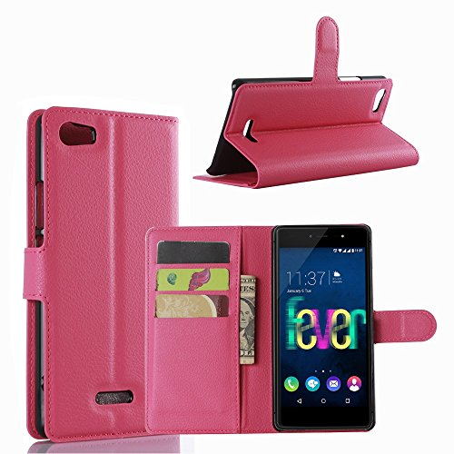 Tasche für Wiko Fever 4G Hülle, Ycloud PU Ledertasche Flip Cover Wallet Case Handyhülle mit Stand Function Credit Card Slots Bookstyle Purse Design Rose Red