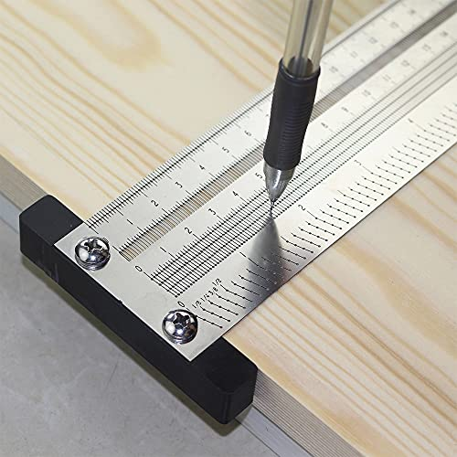 400M / 16Inch Metric T Ruler, Kecheer High Precision Stainless Steel Hole Ruler T-type Woodwork Scribbling Marking Stainless Line Gauge Carpenter Measuring Tool with Mechanical Pencil