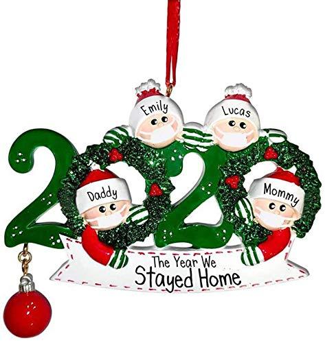 YiMoo Weihnachtsbaumschmuck, 2020 Quarantäne Survivor Familie, personalisiertes Weihnachtsdekorationsset, kreatives Geschenk (B: Familie von 4)