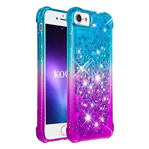 KOUYI Cover iPhone 6S Plus/6 Plus [Serie di Sabbie Mobili] Moda Bling Liquido Sparkly Glitter Fluttuante Quicksand Protettivo Slim Custodia per Apple iPhone 6S Plus/6 Plus 5,5'(Blu Viola)