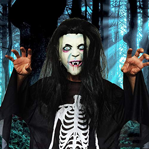 Estrella-L Ltex Horror Sadako Fantasma Pelucas Accesorios de Fiesta de Halloween Peluca Larga Cabello Mueca Fantasma Toothy Zombie Creepy Scary Disfraz Mscara Suministro de Fiesta