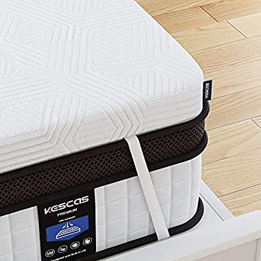 Twin Mattress, Kescas 10 Inch Memory Foam Hybrid Mattress in a Box, Motion Isolation Pocket Spring Twin Bed, Sleep…