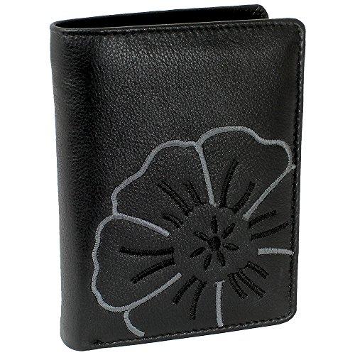 Branco Leder Geldbörse Portemonnaie Damenbörse Damen Geldbeutel Schwarz - sehr hochwertig - Hochformat