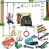 Ninja Slackline Backyard Obstacle Training Course 50 'Slackline - Le kit de Barre de Singe Suspendu pour Enfants Le Plus Complet avec échelle et balançoire.