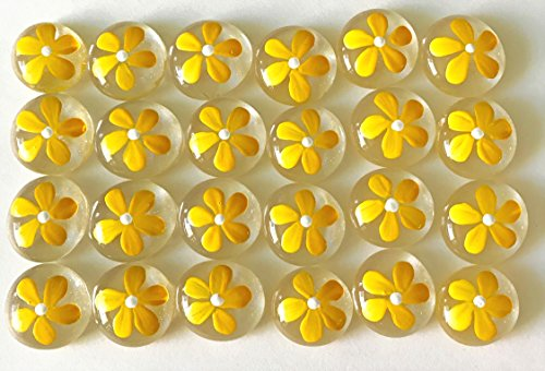 DAISY (Yellow) Set of 24 Hand Painted Glass Gems; Party Supplies, Party Favor, Decoration, Token, Memoir, etc.let your imagination run wild!