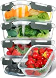 [5-Packs, 30 Oz] Glass Meal Prep Containers with Lifetime Lasting Snap Locking Lids Glass Food...