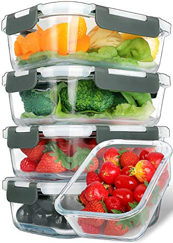 [5-Packs, 30 Oz] Glass Meal Prep Containers with Lifetime Lasting Snap Locking Lids Glass Food Containers,Airtight Lunch Container,Microwave, Oven, Freezer and Dishwasher Safe