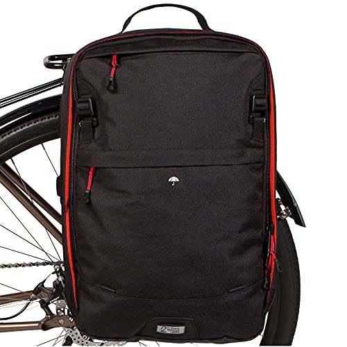 Two Wheel Gear - Pannier Backpack Plus – Water Resistant Everyday Laptop Backpack for Work, Gym, Travel, Daily Commuters, Large Capacity Bag, Black, 30L