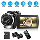 Video Camera Camcorder with 32GB Card Full HD 1080P 30FPS Digital Camera Vlogging Camera for YouTube 3.0 Inch LCD 270 Degrees IPS Screen LED