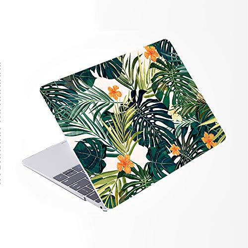 SDH Newest for MacBook Pro 13 inch Case 2020 Release Touch Bar & ID Model: A2338/A2289/A2251, Plastic Pattern Hard Shell & Laptop Sleeve Bag & Keyboard Cover Skin 4 in 1 Bundle, Plant Leaves 1