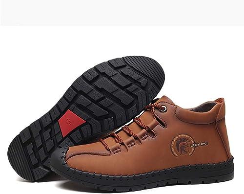 DZX hombres Zapaños De Cuero Senderismo Zapaños para Caminar Invierno Impermeable Cálido Antideslizante Senderismo botas Cálidas, Trabaño Al Aire Libre,marrón-43