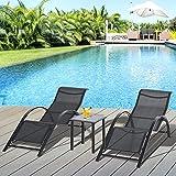 Outsunny 2 Tumbonas de Jardín 59x169x66 cm con Mesa de Café 41x41x45 cm de Vidrio Templado Reposabrazos para Patio Piscina Terraza Aire Libre Negro