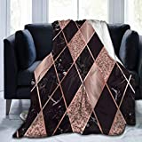 CLERO& Flannel Fleece Throw Blanket Rose Gold Marble Pink Black Geometric Soft Blankets Decorative Warm Cozy Plush Sofa Chair Bed Couch for Kids Mens Womens 50 x 40 Inch
