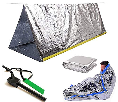 Sportsman Industries Survival Shelter Kit with Free Fire Starter. 4 Piece Mylar Thermal Tent, Blanket and Sleeping Bag is Best for Camping, Hiking, Survival Gear or Your Emergency Kit.