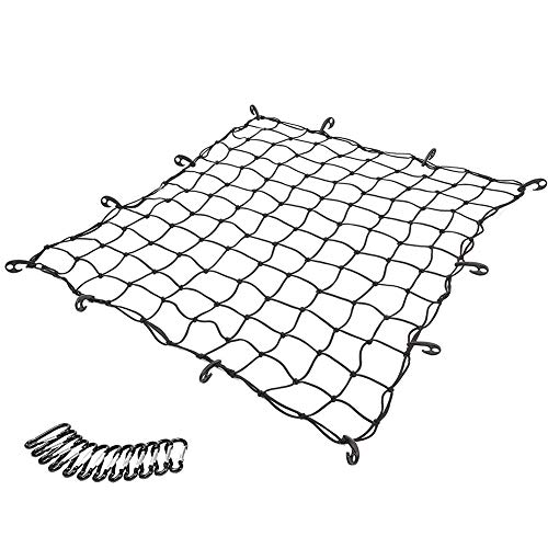 5'x5' to 10'x10' Truck Bed Cargo Net Heavy Duty Truck Bed Bungee Cargo Nets with 12 Tangle-Free D Clip Carabiners,12 Nylon Hooks, 5mm Cord, for Pickup Truck Bed and SUV Rooftop Travel Luggage Rack etc