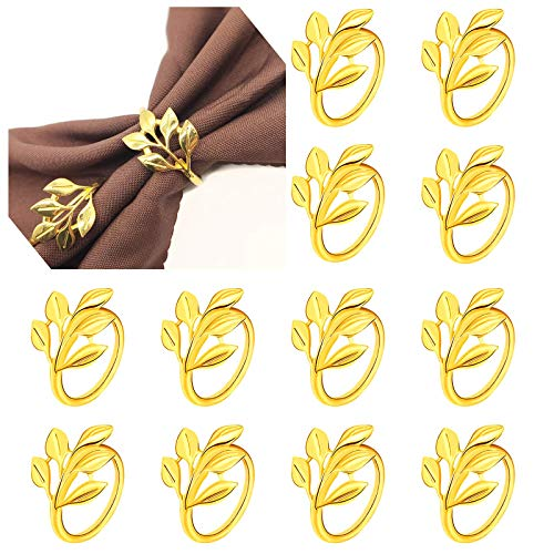 LEAPUP Napkin Rings Set of 12, Alloy Salix Leaf Napkin Rings Holders for Wedding, Christmas, Dining Table Parties (Gold)