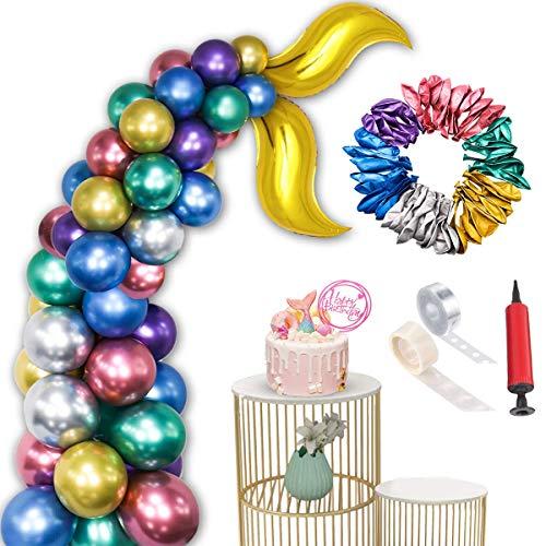 Amycute 54 Stück Meerjungfrau Ballons Party Dekorationen Zum Lila Luftballons Silber Latexballons Luftballon Metallic für Party Braut Baby Dusche Meerjungfrau Geburtstag Party Dekorationen.