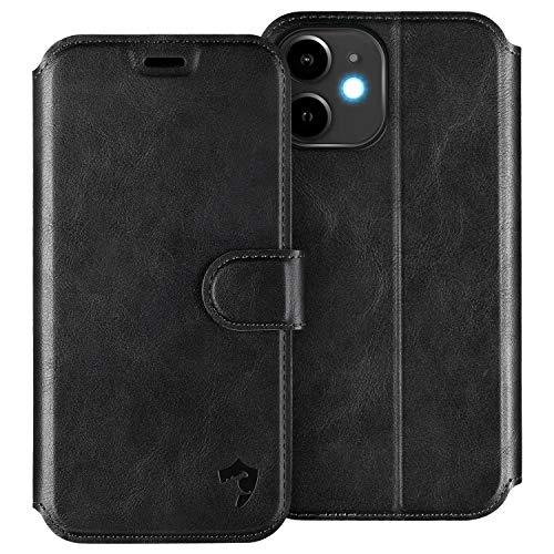 HIPPOX Cover iPhone 12 Mini, Custodia iPhone 12 Mini Interno TPU Antiurto Portafoglio [Supporto Stand] [Carta Fessura] Custodia di Pelle Flip Case Cover per iPhone 12 Mini (5,4 Pollici) - Nero