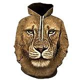 Sudadera con capucha para hombre, talla grande, diseño de león con capucha