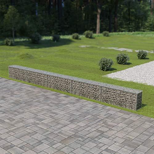 Tidyard Muro de gaviones Cubiertas Acero galvanizado Plateado, Gaviones de Piedra con Cubiertas,Decorativos para Jardin, 600x30x50