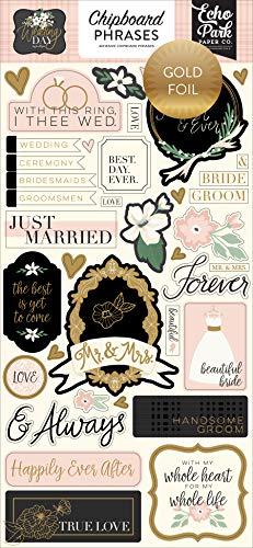 Echo Park Paper Company Wedding Day 6x13 Phrases chipboard, green, pink, cream, black, grey |