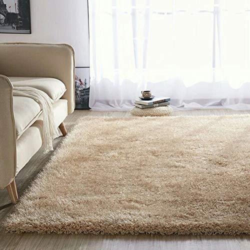 VIVOCFan pluizige valse bont gebied tapijt, retro Ultra dikke Shaggy tapijt, slaapkamer meisjes kamer pluizig tapijt, getextureerde nachtkastje interieur vloer tapijten Beige 60x170cm (24x67inch)