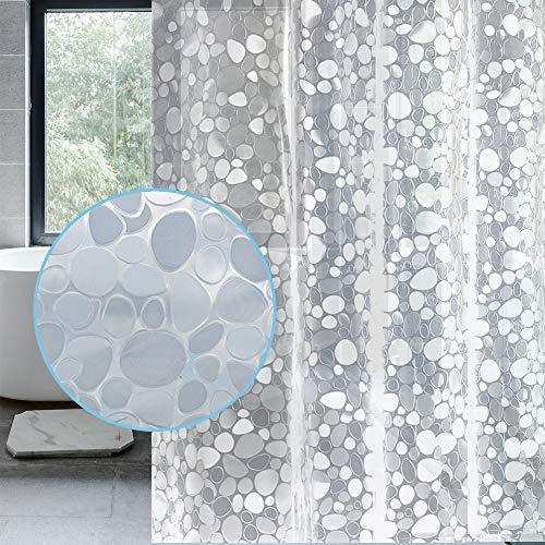 LEMON CLOUD Cortina Baño, Impermeable, Antimoho, Antibacteriano (3D PEVA Guijarro Transparente, 180 x 180 cm)