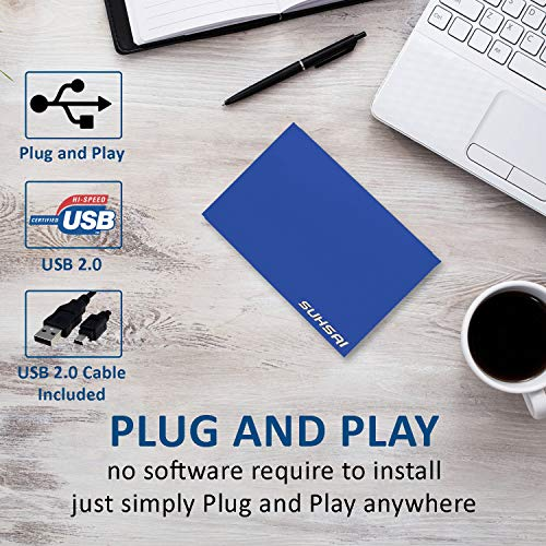Suhsai - Disco duro externo portátil para guardar datos, películas, música y disco duro externo 2.0 USB compatible con SmartTV, Mac, portátil, tableta y PC azul azul 120 GB miniatura