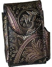 Portasigarette, porta pacchetto sigarette con porta accendino, Vera Pelle - Etabeta Artigiano Toscano - Made in Italy (flower power)