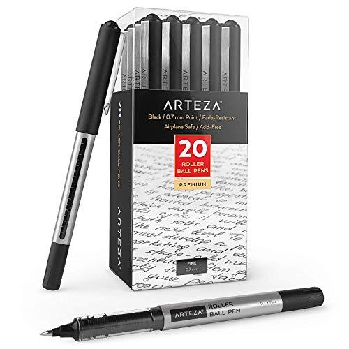 Arteza Bolígrafos de tinta de gel | Paquete de 20 | Color negro| Punta fina de 0,7 mm | Bolígrafos de gel para escritura, tomar notas, diarios personales y dibujo