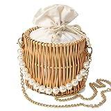 summer beach rattan straw bag for women basket wicker circle cross body handwoven purse
