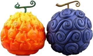 17cm One Piece Devil Fruit Ace Flame-Flame Fruit & Luffy Gum-Gum Fruit PVC Figure Collectible Toys with Box (Blue)